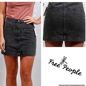 FREE PEOPLE Black Washed Button Denim Shorts NWT